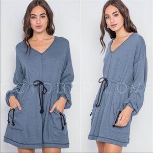 Blue Sweatshirt Tie-At-Waist Dress